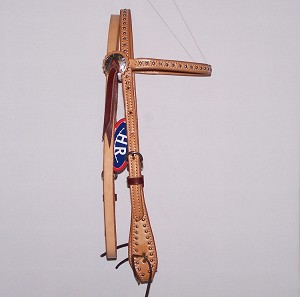 Dotted Natural Brow Band Headstall With Paddle Cheeks Retail $74.95
