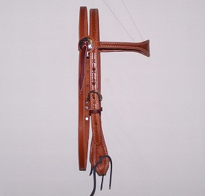 Scalloped Cowboy Headstall Barb Wire Chestnut Paddle Cheek Retail $99.95