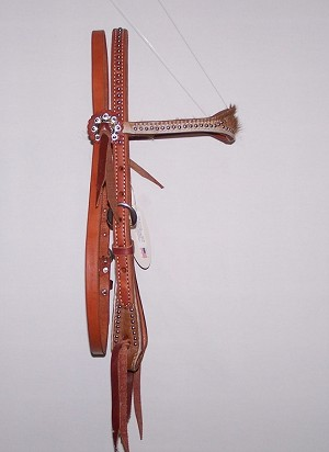 Scalloped Dotted Cowhide Headstall  Paddle Cheeks Rdetail $99.95
