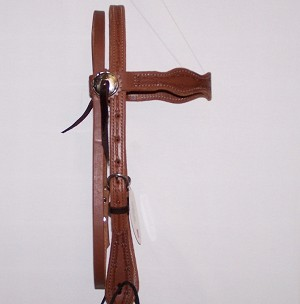 Tri-Scalloped Headstall Tooled Barb Wire Oiled Retail  $89.95
