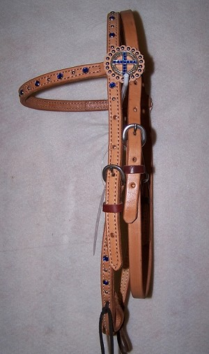 Crystal  Cross Concho Brow Band Headstall Retail $86.95
