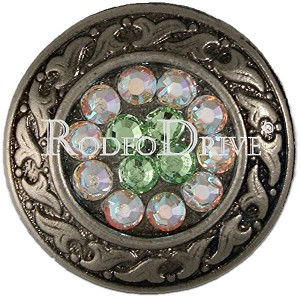 "Rodeo Drive Concho 1"" Antique Silver Lime AB Retail $ 12.00"