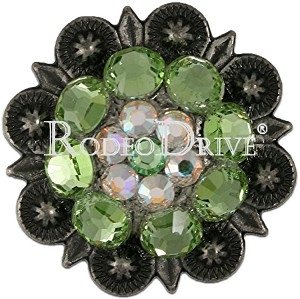 "Rodeo Drive Concho 1 1/2 "" Antique Silver Lime AB Retail $25.00"