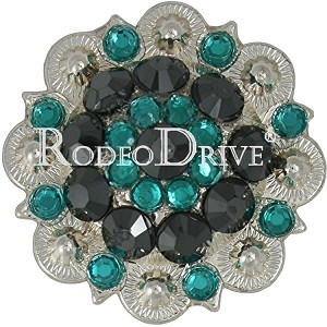 "Rodeo Drive Bright Silver Teal 1"" concho Retail $12.00"