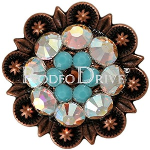 "Rodeo Drive Concho 1 "" Copper Topaz  Turquoise Retail $ 25.00"
