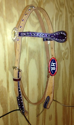 Scalloped Headstall Brow Purple Gator Sugested Retail $109.95